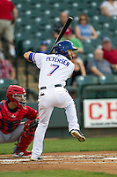 Round Rock Express outfielder Bryan Petersen #7 at bat during the Pacific Coast League baseball game against the Memphis Redbirds on April 24, 2014 at the Dell Diamond in Round Rock, Texas. The Express defeated the Redbirds 6-2. (Andrew Woolley/Four Seam Images)
