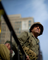 NEW YORK, USA - November 11: A man dressed in military uniform attends the 100 Veterans Day parade on November 11, 2019 in New York, USA. President Donald Trump, the first sitting U.S. president attended New York's parade, where he offered a tribute to veterans ahead of the 100th annual parade  (Photo by Eduardo MunozAlvarez/VIEWpress)