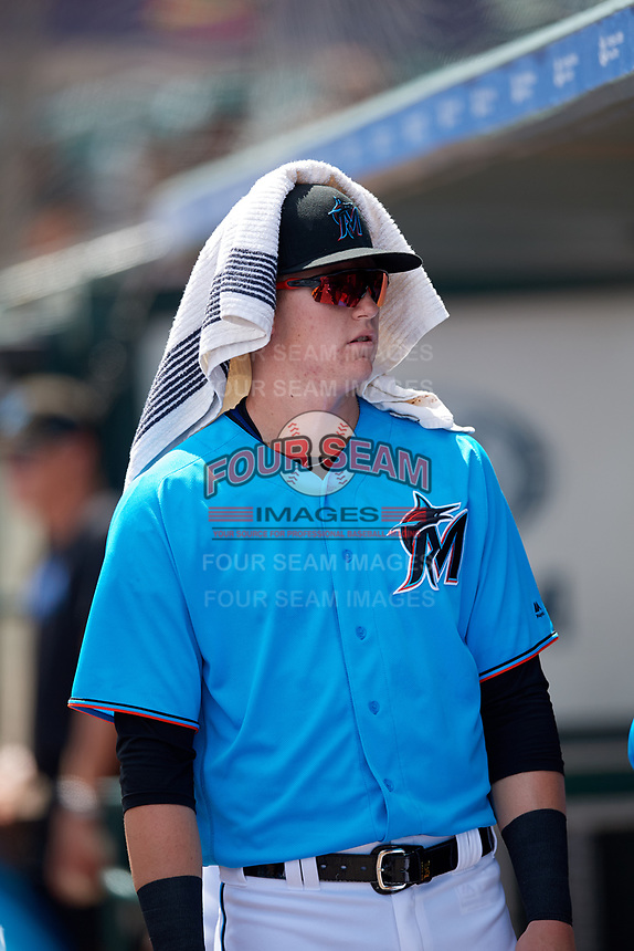 Miami Marlins Sean Reynolds (30) during an Instructional League game against the Washington Nationals on September 25, 2019 at Roger Dean Chevrolet Stadium in Jupiter, Florida.  (Mike Janes/Four Seam Images)