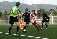 Action from the National Women's League football match between the Capital and Canterbury at Memorial Park in Petone, Wellington, New Zealand on Saturday, 11 November 2017. Photo: Mike Moran / lintottphoto.co.nz