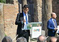 il Ministri delle politiche agricole Maurizio Martina negli scavi archeologici di Pompei per presentare Expo 2015,  18 Aprile 2015