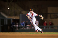 Salt River Rafters second baseman Carter Kieboom (24), of the Washington Nationals organization, flips to the shortstop during an Arizona Fall League game against the Scottsdale Scorpions at Salt River Fields at Talking Stick on October 11, 2018 in Scottsdale, Arizona. Salt River defeated Scottsdale 7-6. (Zachary Lucy/Four Seam Images)