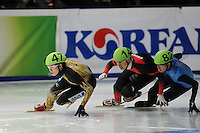 SCHAATSEN: DORDRECHT: Sportboulevard, Korean Air ISU World Cup Finale, 11-02-2012, Yuzo Takamido JPN (47), Weilong Song CHN (14), J.R. Celski USA (82), ©foto: Martin de Jong