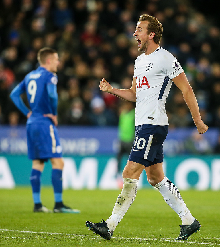 Tottenham Hotspur's Harry Kane celebrates scoring his side's first goal <br /> <br /> Photographer Andrew Kearns/CameraSport<br /> <br /> The Premier League - Leicester City v Tottenham Hotspur - Tuesday 28th November 2017  - King Power Stadium - Leicester<br /> <br /> World Copyright &copy; 2017 CameraSport. All rights reserved. 43 Linden Ave. Countesthorpe. Leicester. England. LE8 5PG - Tel: +44 (0) 116 277 4147 - admin@camerasport.com - www.camerasport.com