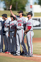 Salt River Rafters pitcher Jordan Mills (28), of the Washington Nationals organization, during player introductions before the Arizona Fall League Championship game against the Peoria Javelinas at Scottsdale Stadium on November 17, 2018 in Scottsdale, Arizona. Peoria defeated Salt River 3-2 in extra innings. (Zachary Lucy/Four Seam Images)