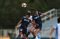 Cary, North Carolina  - Saturday April 29, 2017: Debinha (10), Ashley Hatch (12), and Alanna Kennedy (behind) challenge for a header during a regular season National Women's Soccer League (NWSL) match between the North Carolina Courage and the Orlando Pride at Sahlen's Stadium at WakeMed Soccer Park.
