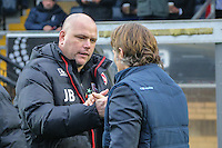 Manager Jim Bentley of Morecambe and Manager of Wycombe Wanderers Gareth Ainsworth shake hands ahead of the Sky Bet League 2 match between Wycombe Wanderers and Morecambe at Adams Park, High Wycombe, England on 12 November 2016. Photo by David Horn.