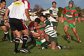 Bundellu Aki tries to stop Manukia Manuika as he dives over at the feet of referee Nigel Bradley to score late in the game. Counties Manukau Premier Club Rugby game between Wauku & Manurewa played at Waiuku on Saturday June 6th. Manurewa won 36 - 31 after leading 14 - 12 at halftime.