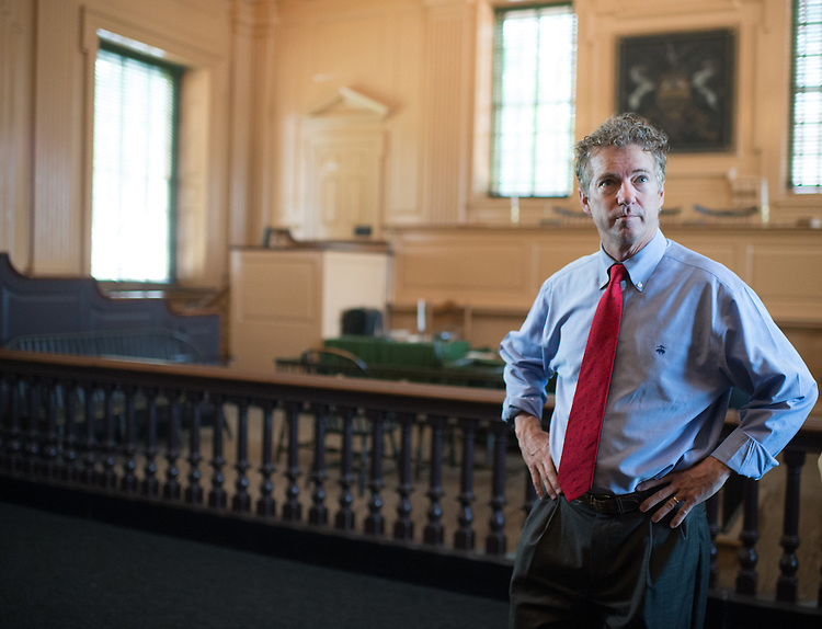 UNITED STATES - MAY 18: Presidential candidate Sen. Rand Paul, R-Ky., tours Independence Hall in Philadelphia on Monday, May, 18, 2015. (Photo By Bill Clark/CQ Roll Call)