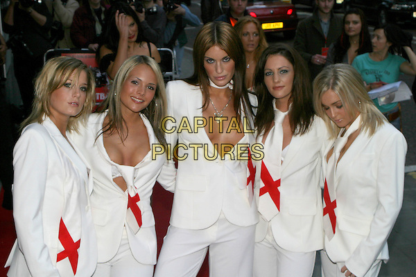 GLAM R US.The Football Factory - UK Charity Film Premiere, Odeon, West End, London, WC2.May 10th, 2004.Glam'R'Us, girl band, half length, half-length, white dress suits, matching outfits, cleavage, plunging necklines.www.capitalpictures.com.sales@capitalpictures.com.© Capital Pictures..