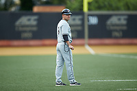 Davidson Wildcats head coach Rucker Taylor (3) coaches third base during the game against the Wake Forest Demon Deacons at David F. Couch Ballpark on May 7, 2019 in  Winston-Salem, North Carolina. The Demon Deacons defeated the Wildcats 11-8. (Brian Westerholt/Four Seam Images)