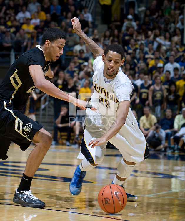 Allen Crabbe of California fights for a loose ball during the game against Colorado Buffaloes at Haas Pavilion in Berkeley, California on March 2nd, 2013.  California defeated Colorado Buffaloes, 62-46.