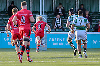 Will HOMER of Jersey Reds (9) breaks free to score his try during the Greene King IPA Championship match between Ealing Trailfinders and Jersey Reds at Castle Bar , West Ealing , England  on 22 December 2018. Photo by David Horn.