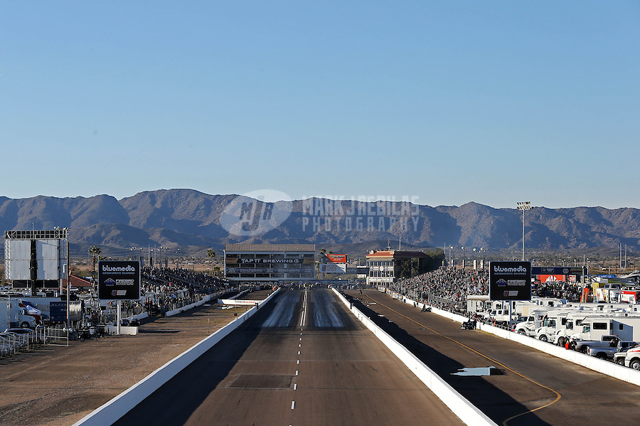 Feb. 22, 2013; Chandler, AZ, USA; NHRA awesome view looking right down the middle of the track during qualifying for the Arizona Nationals at Firebird International Raceway. Mandatory Credit: Mark J. Rebilas-