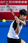 Luksika Kumkhum in action during the Prudential Hong Kong Tennis Open 2018 match between Luksika Kumkhum (THA) and Alize Cornet (FRA) at Victoria Park Tennis Stadium on October 10 2018 in Hong Kong, Hong Kong. Photo by Marcio Rodrigo Machado / Power Sport Images