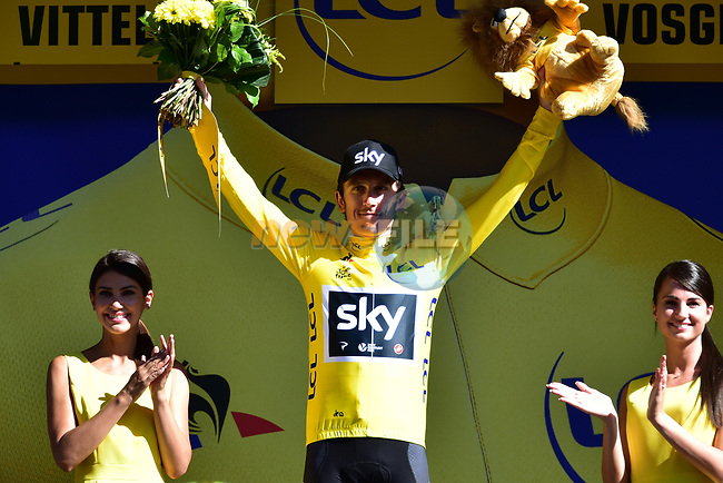 Geraint Thomas (WAL) Team Sky retains the Yellow Jersey at the end of Stage 4 of the 104th edition of the Tour de France 2017, running 207.5km from Mondorf-les-Bains, Luxembourg to Vittel, France. 4th July 2017.<br /> Picture: ASO/Pauline Ballet | Cyclefile<br /> <br /> <br /> All photos usage must carry mandatory copyright credit (&copy; Cyclefile | ASO/Pauline Ballet)