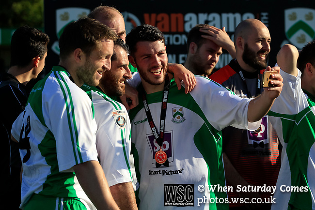 North Ferriby players celebrate with a selfie. Vanarama National League North, Promotion Final, North Ferriby United v AFC Fylde, 14th May 2016.