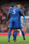 Leicester's Jamie Vardy with Wes Morgan during the premier league match at the Emirates Stadium, London. Picture date 11th August 2017. Picture credit should read: David Klein/Sportimage