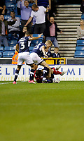 Ipswich Town's Joe Garner tangles with Millwall's George Saville (C) and James Meredith (L) during the Sky Bet Championship match between Millwall and Ipswich Town at The Den, London, England on 15 August 2017. Photo by Carlton Myrie.