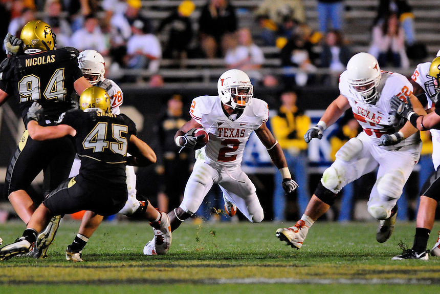 04 October 2008: Texas tailback Vondrell McGee (2) rushes against Colorado. The Texas Longhorns defeated the Colorado Buffaloes 38-14 at Folsom Field in Boulder, Colorado. For Editorial Use Only