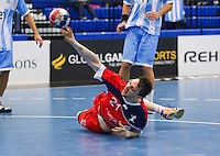 05 APR 2012 - LONDON, GBR - Great Britain's Chris Mcdermott (GBR) shoots from the floor during the men's 2012 London Cup match against Argentina at the National Sports Centre in Crystal Palace, Great Britain (PHOTO (C) 2012 NIGEL FARROW)