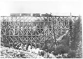 Passenger train on Lake Fork trestle.<br /> D&amp;RG  Lake City Branch - Lake Fork, CO  Taken by Jackson, William Henry - 1889-1890
