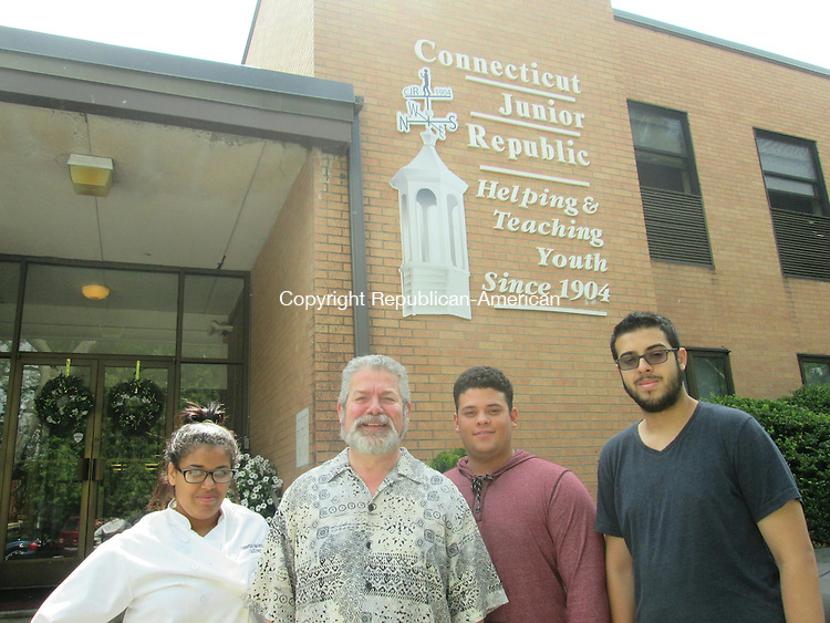 WATERBURY,CT- 19 July 2015- 071815DL01-- From the left, Kassandra Rodriguez, David Burgos, Benjamin Olivera and Victor Marcial. Rodriguez, Olivera and Marcial have participated in CJR programs since the sixth grade and are all moving onto college with their experience. Destiny Lopez Republican-American