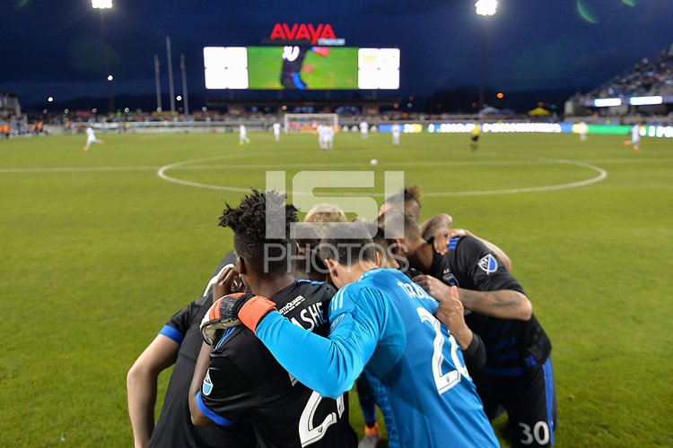San Jose, CA - Saturday March 24, 2018: San Jose Earthquakes huddle during an international friendly between the San Jose Earthquakes and Club Leon FC at Avaya Stadium.