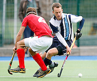 Dan Fox surges forward for Hampstead during the England Hockey League Mens Premier Division game between Hampstead & Westminster against Canterbury at The Paddington Recreation Ground, Maida Vale on Sat Sept 25, 2010