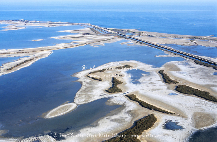 Salt marsh in Camargue on Mediterranean sea, Provence, France (aerial view,)