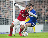 Alexandre Lacazette of Arsenal is shadowed by Cesar Azpilicueta of Chelsea, Carabao Cup Semi-Final, First Leg, Chelsea v Arsenal, Stamford Bridge, London, United Kingdom, 10th January 2018