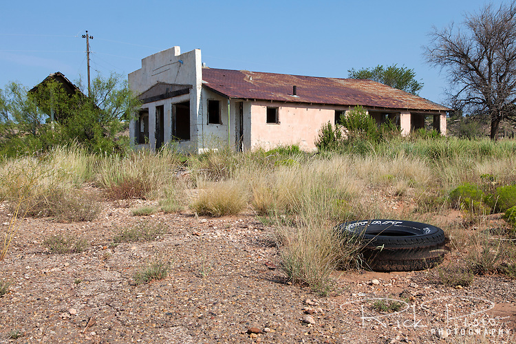 An abandoned gas station and resturaunt sits along a forgotten stretch of Route 66 west of Moriarty, New Mexico.