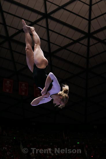 Trent Nelson  |  The Salt Lake Tribune.Salt Lake City - Utah vs. BYU college gymnastics Friday, March 26, 2010. Utah's Kyndal Robarts on the beam