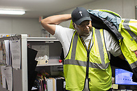 Johnny Crudup (CQ), a full-time substitute bus driver for Wake County, gets ready for his day at the transportation trailer at Southeastern Raleigh Magnet High School in Raleigh, NC on Friday, March 31, 2017. (Justin Cook for The Wall Street Journal)<br /> <br /> BUSES Summary<br /> A shortage of school bus drivers is forcing one of North Carolina&rsquo;s largest school districts to consider starting class as early as 7:10 a.m. and as late as 9:15 a.m. this fall, to give the limited number of drivers time to do three or more runs each morning.