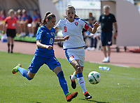 20180307 - LARNACA , CYPRUS :  Slovakian Kristina Kosikova (left) pictured protecting the ball for Czech Lucie Vonkova (right)  during a women's soccer game between  Slovakia and the Czech Republic , on Wednesday 7 March 2018 at the GSZ Stadium in Larnaca , Cyprus . This is the final game in a decision for 9 th or 10 th place of the Cyprus Womens Cup , a prestigious women soccer tournament as a preparation on the World Cup 2019 qualification duels. PHOTO SPORTPIX.BE | DAVID CATRY
