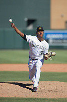 Salt River Rafters relief pitcher Yency Almonte (30), of the Colorado Rockies organization, delivers a pitch to the plate during a game against the Peoria Javelinas on October 16, 2017 at Salt River Fields at Talking Stick in Scottsdale, Arizona. The Javelinas defeated the Rafters 6-2. (Zachary Lucy/Four Seam Images)
