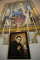San Giuseppe Cafasso , protettore dei detenuti..La chiesa di San Gaudenzio è stata completamente ristrutturata ed affrescata nel 1942, da un detenuto della colonia penale.Pianosa Island. The church of San Gaudenzio.Pianosa Island. The church of San Gaudenzio....