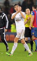 Jack Cork of Swansea thanks home supporters after the Barclays Premier League match between Swansea City and Crystal Palace at the Liberty Stadium, Swansea on February 06 2016