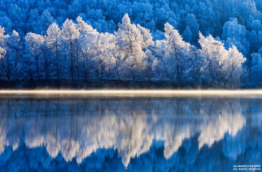 Winter reflections in Loch Achilty, Ross-shire, Scottish Highlands