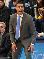 WASHINGTON, DC - FEBRUARY 8: David Cox head coach of Rhode Island follows the action during a game between Rhode Island and George Washington at Charles E Smith Center on February 8, 2020 in Washington, DC.
