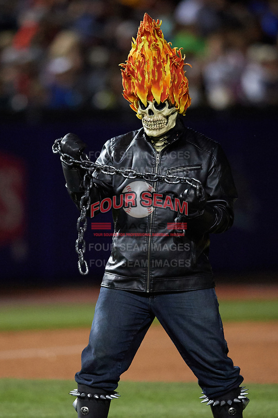 An actor portraying Ghost Rider during an on field performance after a Buffalo Bisons game against the Gwinnett Braves on August 19, 2017 at Coca-Cola Field in Buffalo, New York.  The Bisons wore special Superhero jerseys for Superhero Night.  Gwinnett defeated Buffalo 1-0.  (Mike Janes/Four Seam Images)