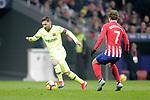 Club Atletico de Madrid's Antoine Griezmann (R) and Futbol Club Barcelona's Leo Messi  during La Liga match. November 24,2018. (ALTERPHOTOS/Alconada)