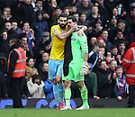 Crystal Palace's Mile Jedinak celebrates at the final whistle with Julian Speroni<br /> <br /> Barclays Premier League - West Ham United  vs Crystal Palace  - Upton Park - England - 28th February 2015 - Picture David Klein/Sportimage