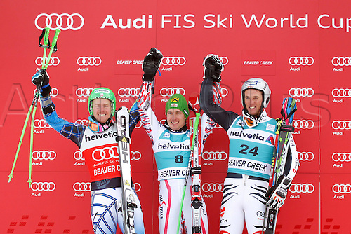 04.12.2011. Beaver Creek Colorado USA Ski Alpine FIS World Cup Giant slalom the men Award Ceremony Picture shows the cheering from Ted Ligety USA Marcel Hirscher AUT and Fritz Dopfer ger