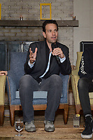 """NEW YORK - OCTOBER 30: (L-R) Carlos Loret de Mola speaks at a panel discussion during a reception after the screening of National Geographic Documentary Films """"Sea of Shadows"""" and """"Lost and Found"""" on October 30, 2019 in New York City. (Photo by Anthony Behar/National Geographic/PictureGroup)"""