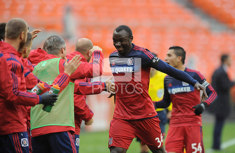 Washington D.C. - March 29, 2014: Jhon Kennedy Hurtado of the Chicago FIre celebrates his score with teammates.  The Chicago Fire tied D.C. United 2-2 during a Major League Soccer match for the 2014 season at RFK Stadium.