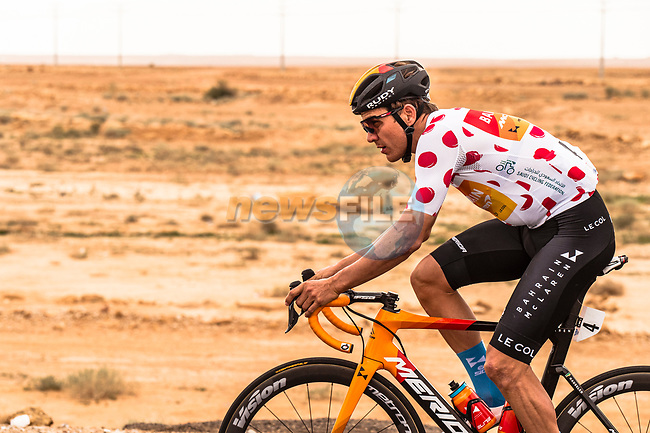 Heinrich Hausler (AUS) Bahrain-Mclaren in action during Stage 2 of the Saudi Tour 2020 running 187km from Sadus Castle to Al Bujairi, Saudi Arabia. 5th February 2020. <br /> Picture: ASO/Kåre Dehlie Thorstad | Cyclefile<br /> All photos usage must carry mandatory copyright credit (© Cyclefile | ASO/Kåre Dehlie Thorstad)