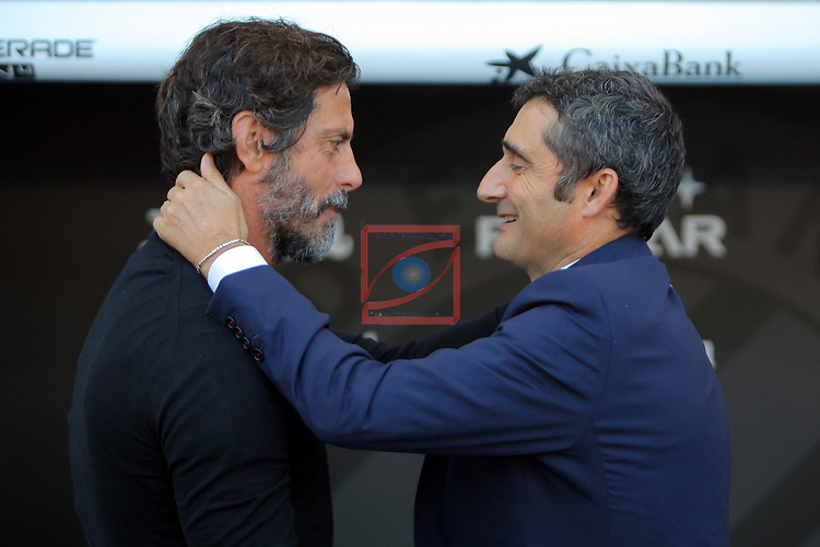 League Santander 2016/2017. Game: 11.<br /> RCD Espanyol vs Athletic Club: 0-0.<br /> Quique Sanchez Flores &amp; Ernesto Valverde.