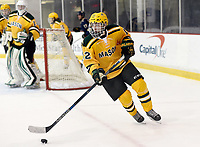 George Mason's Jacob Lechner (12) skates the puck out from his own end. George Mason defeated George Washington 5-2 on 9-22-18.<br />
