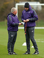 Head coach Paul Clement (R) speaks to assistant coach Nigel Gibbs during the Swansea City Training at The Fairwood Training Ground, Swansea, Wales, UK. Tuesday 08 March 2017